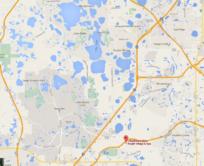 Map of area around the Lake Buena Vista Resort Village & Spa - Disney World on the left, Universal Orlando just above.