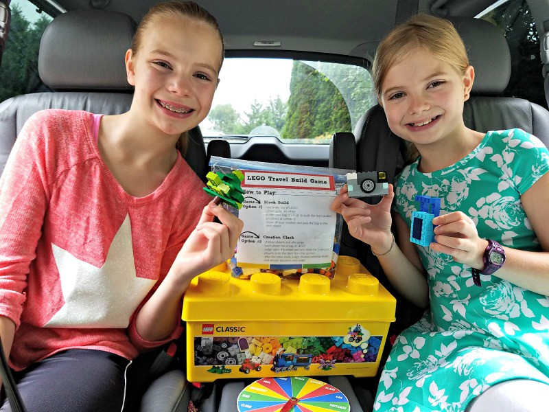 LEGO building is fun for the whole family, and makes a great road trip boredom buster!