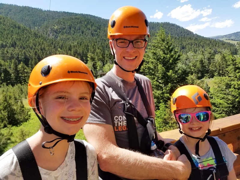 Ziplining along the Gallatin River in Southwest Montana