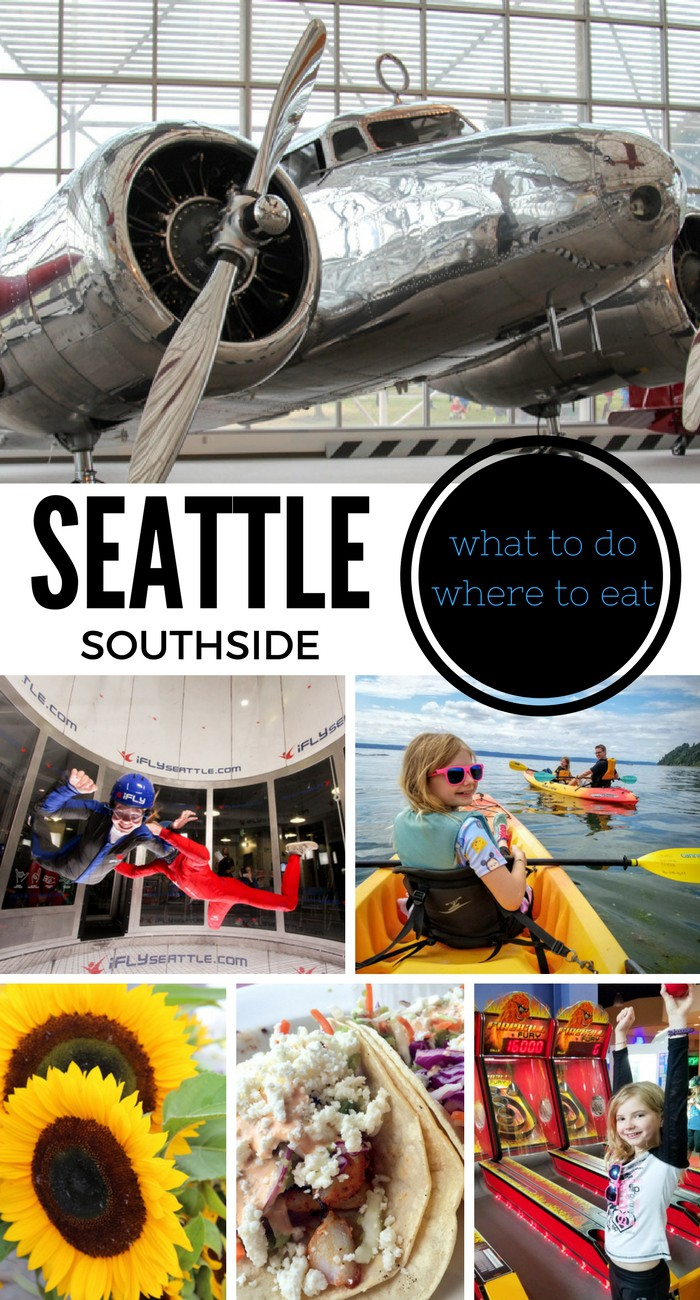 If you're planning a trip to Seattle, be sure to check out the Seattle Southside where you can do things like indoor skydiving, kayak in the sound, check out old planes, and eat at some delicious restaurants!