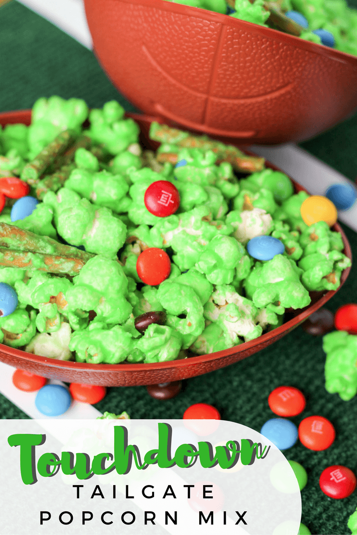 Don't serve the same old boring football party food -- make this touchdown tailgate popcorn mix and surprise your guests with a fun and tasty snack!