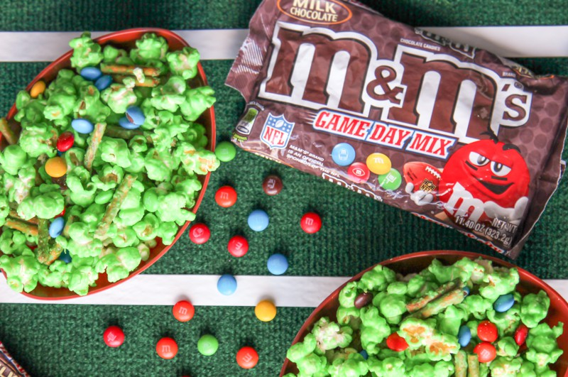 The M&Ms Game Day Mix is perfect addition for this popcorn mix, plus it can be served in a bowl on their own too!