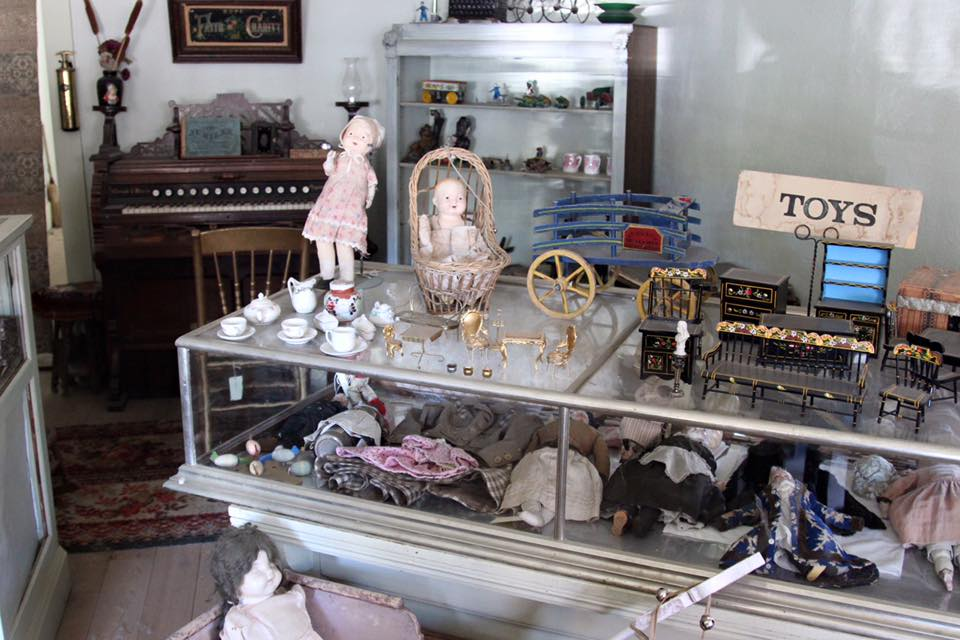 Artifacts displayed in unique shops along the main street