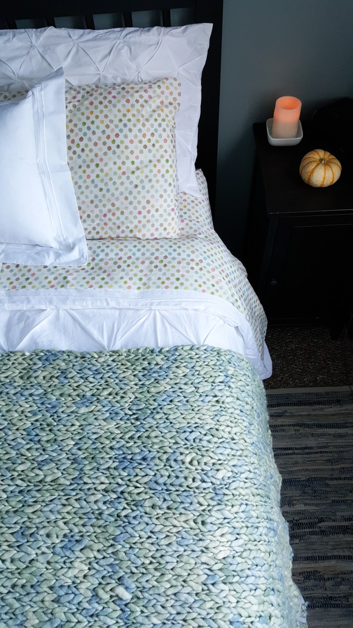 New bedroom decor bedding makeover featuring cozy comfort, and various textures. Clean and cool, blue bedroom decor.