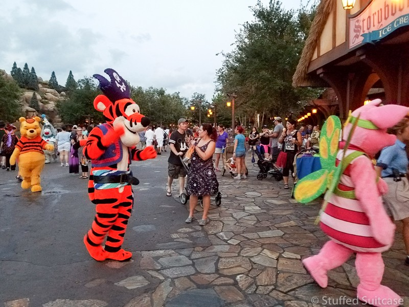 meet characters in costume at the halloween party at disney world