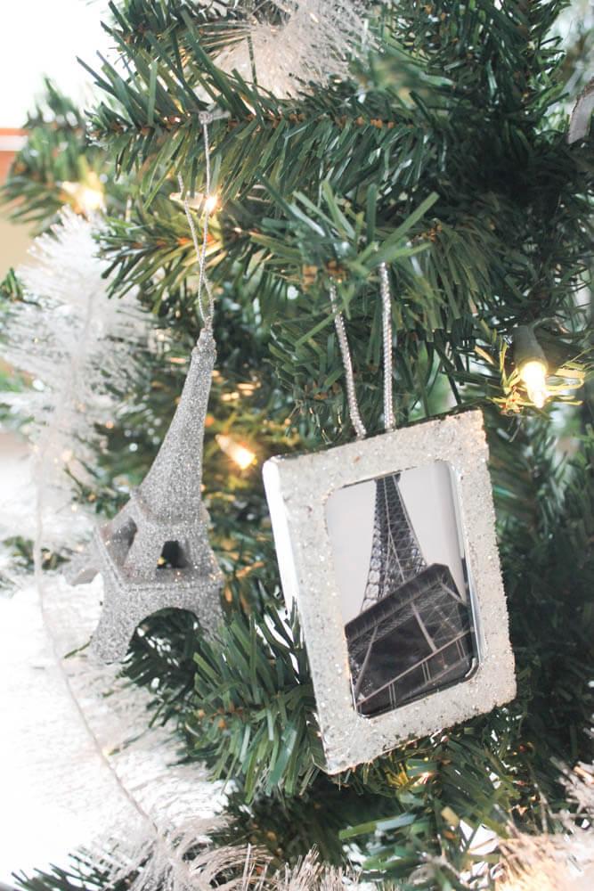 travel theme christmas tree eiffel tower ornaments