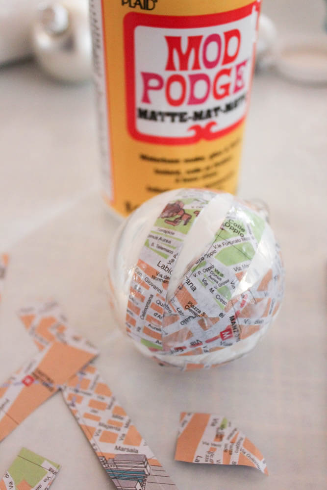Create unique DIY ornaments for your travel theme Christmas tree by Mod Podging maps on ornaments
