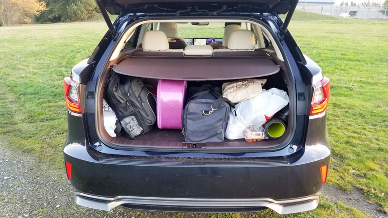 Packed for a weekend getaway - trunk cover shade in Lexus RX 450h