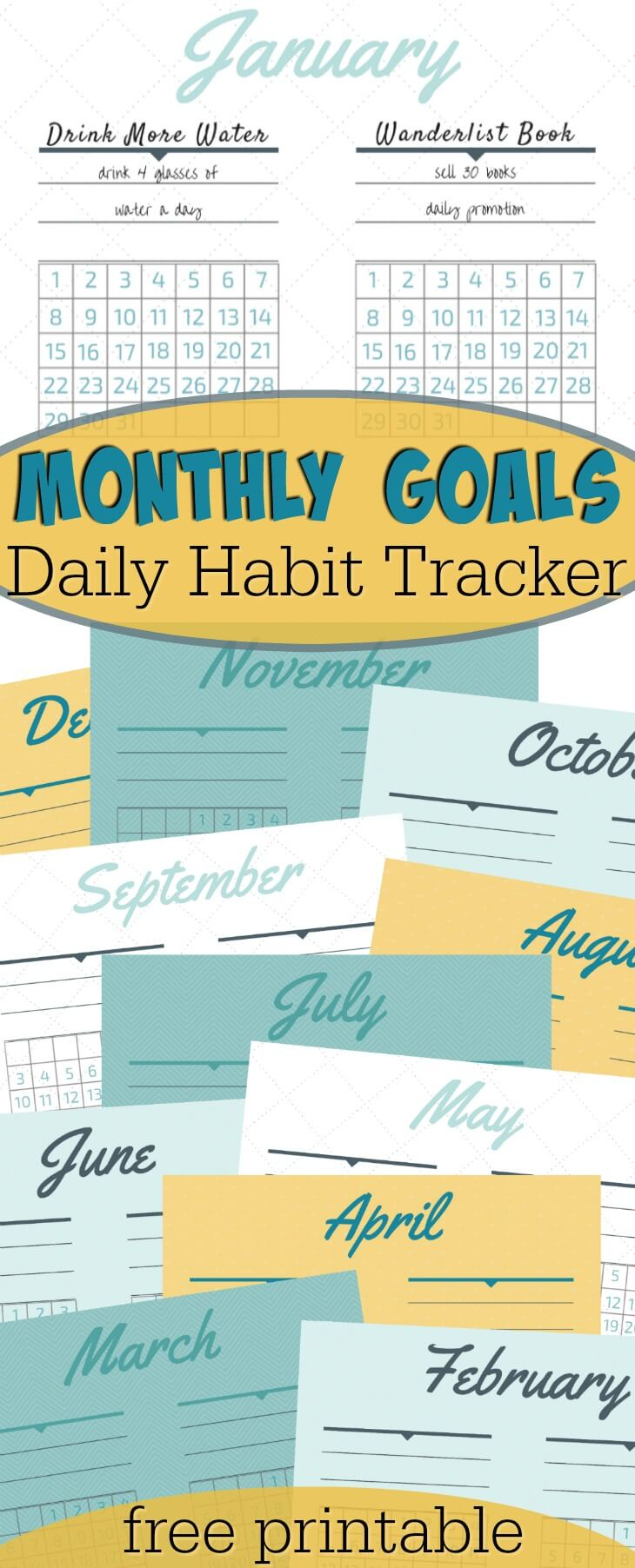 New years resolution ideas to help you succeed! Goals worksheet printables with a daily habit tracker.