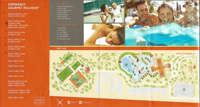 The main activities area for the Nickelodeon Resort Punta Cana. This is the end opposite from the beach, so imagine this map connecting with the above map on the left side of the lobby.