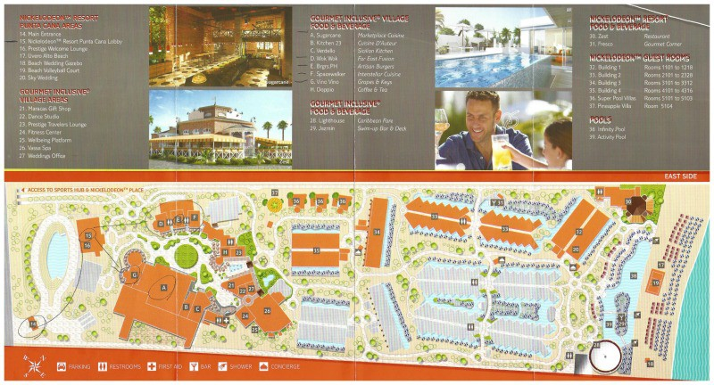 Resort Map layout of Nickelodeon Punta Cana. Orange buildings are Nick buildings, grey are Sensatori resort rooms. Gourmet Inclusive dining is open to guests of both resorts. This map shows from the lobby to the beach.
