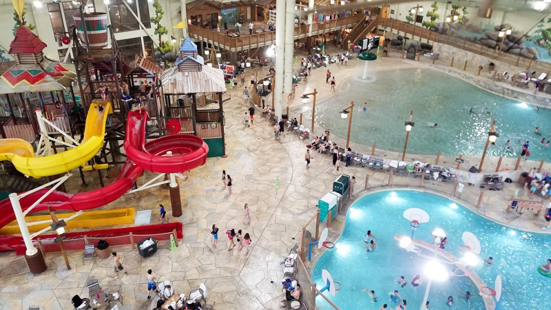 Looking down from the slides upon the waterpark at Great Wolf Lodge | © Stuffed Suitcase