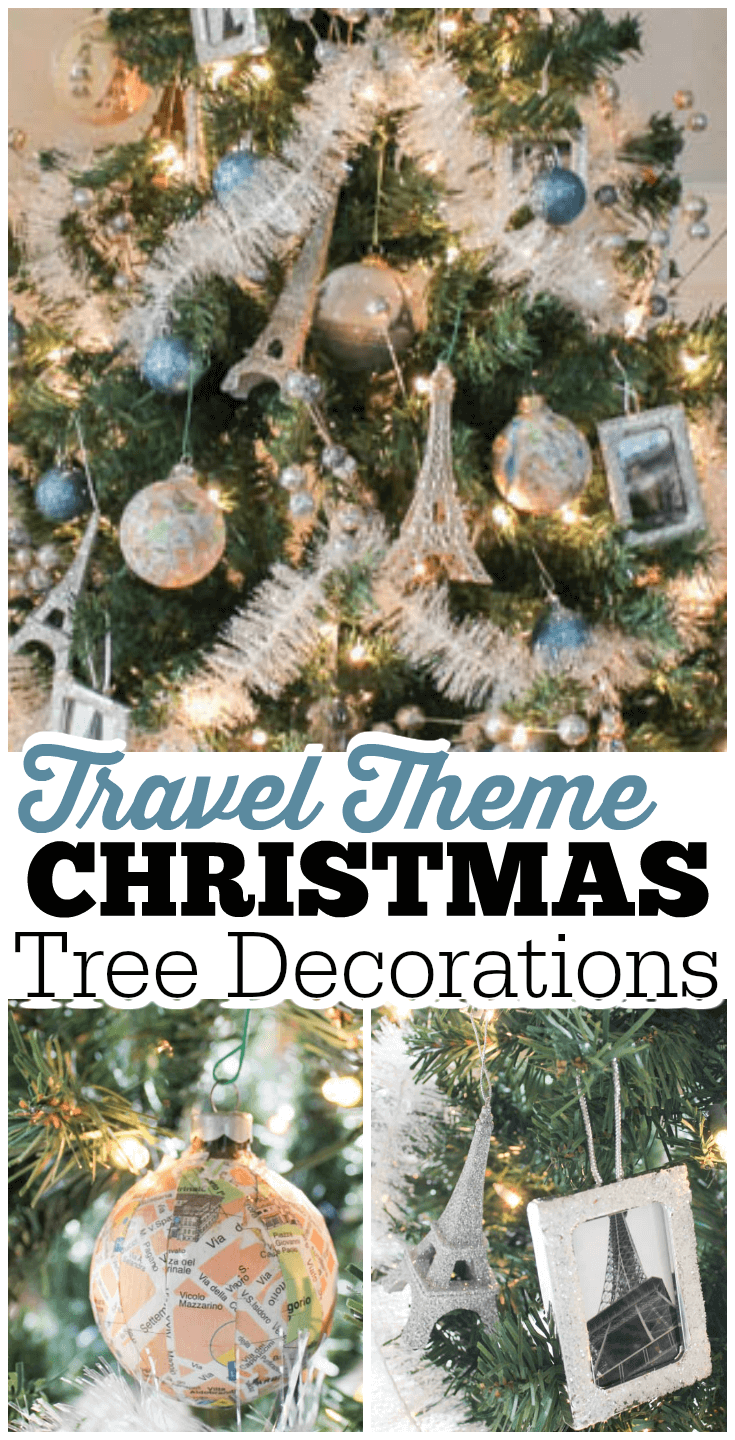 Make a travel theme Christmas tree featuring DIY ornaments showcasing your photos and maps of your destinations, plus make a custom travel tree skirt!
