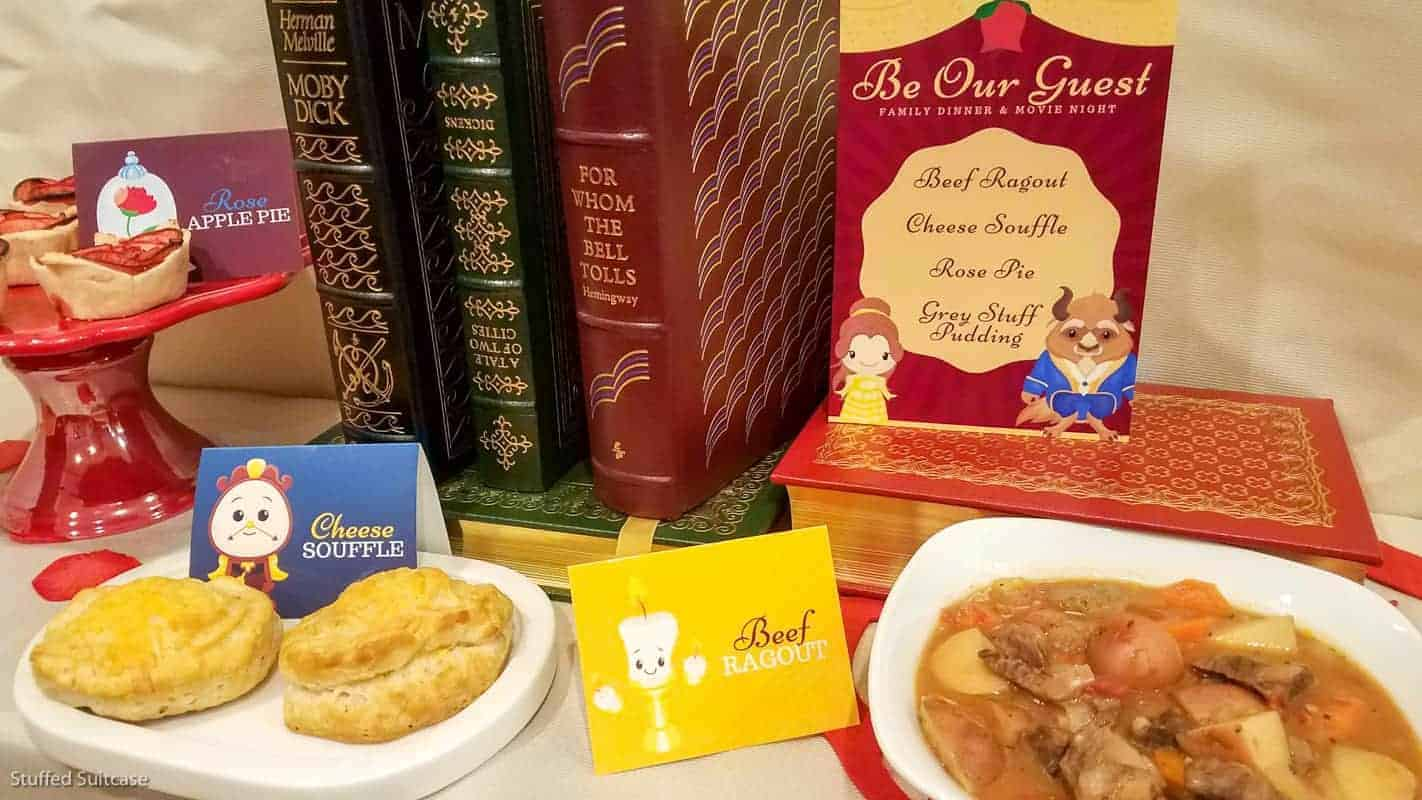 Great movie night dinner ideas for planning a Beauty and the Beast dinner © Stuffed Suitcase