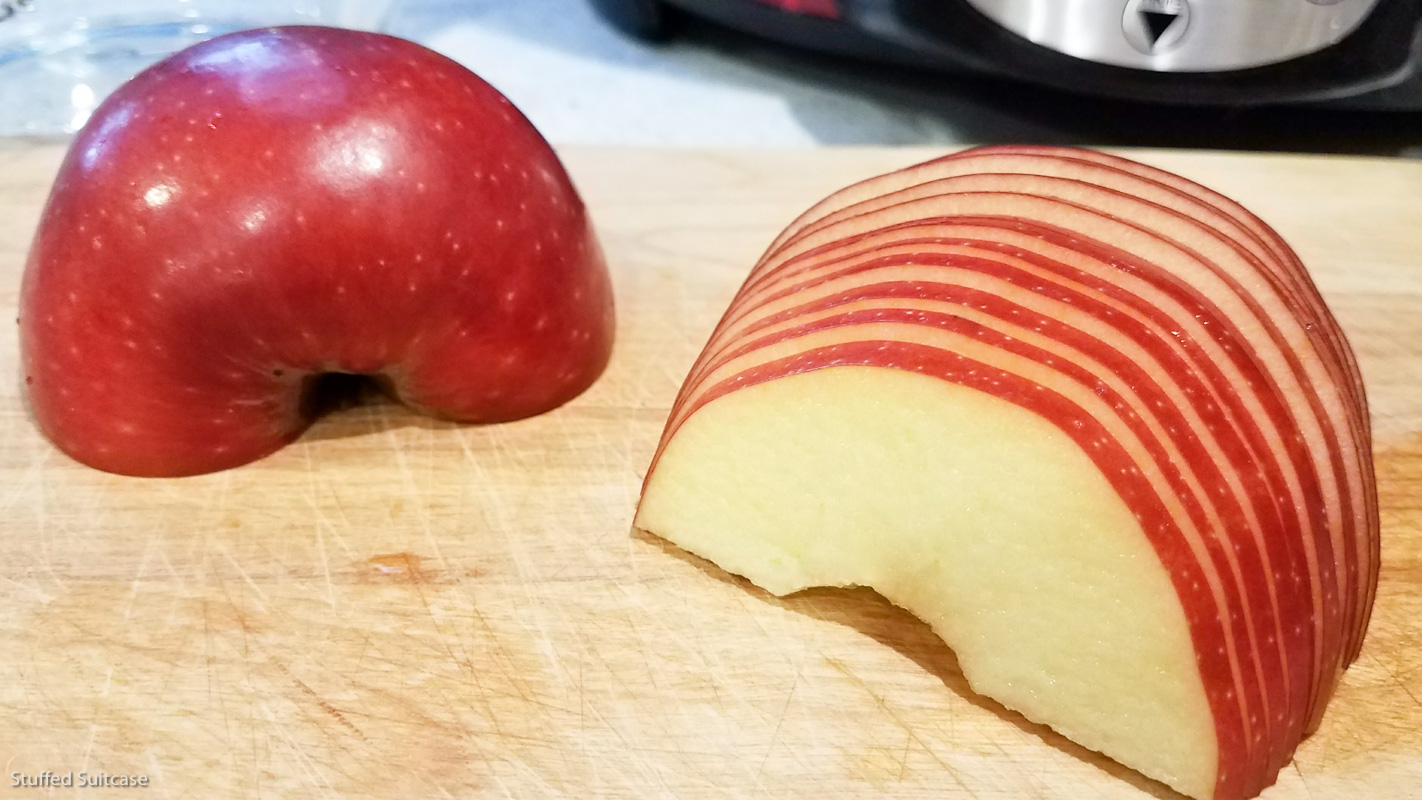 Slice apples super thin to make rose apple pies - mandoline would be ideal (mine weren't thin enough) © Stuffed Suitcase