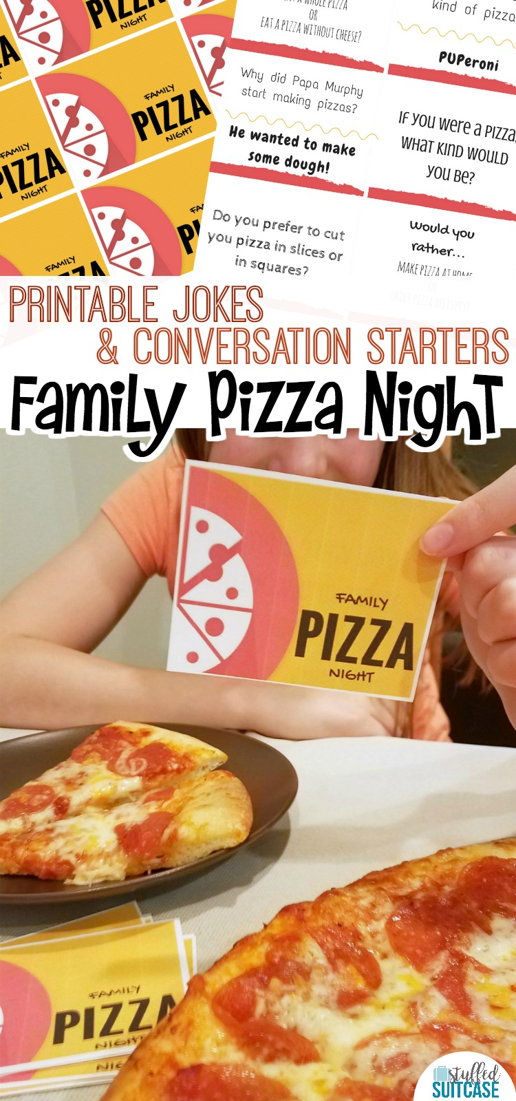 Pizza is popular for busy family nights, add my free printable conversation starters and jokes to make your pizza night a family fun night!