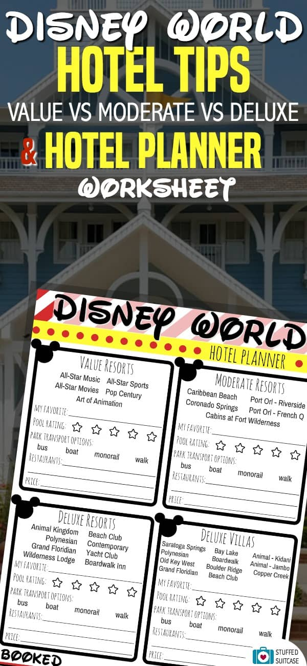 Disney World tips for choosing your hotel - comparing value, moderate, and deluxe resort - free printable hotel planner worksheet to help you decide | WDW tips | Disney vacation ideas