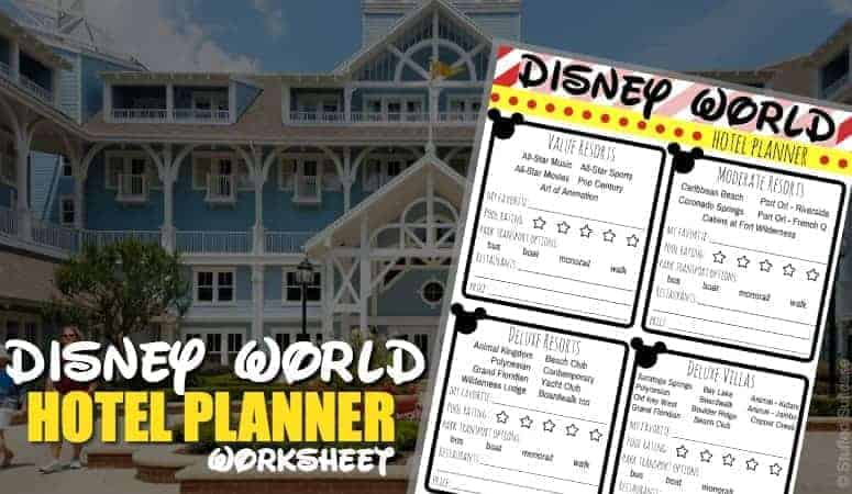 Choosing where to stay at Walt Disney World and trying to compare between value, moderate, and deluxe resorts - use this printable worksheet for your vacation planning to WDW © Stuffed Suitcase