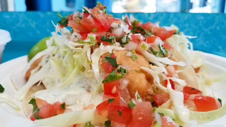 fish taco at dos victorias restaurant in monterey