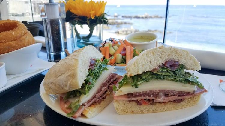 lalla oceanside grill sandwich on plate overlooking monterey bay