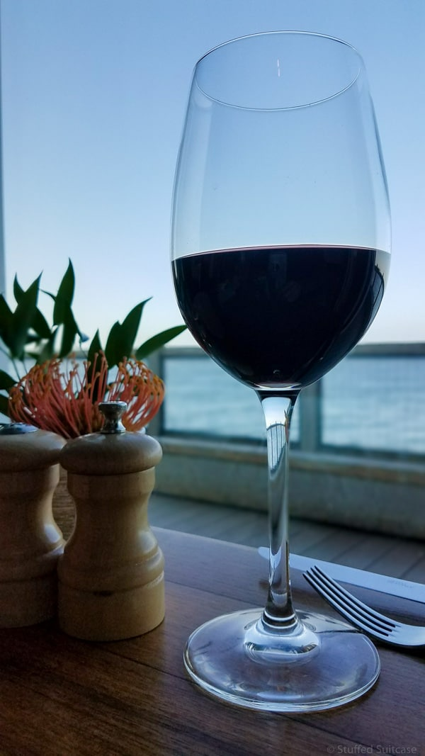 glass of wine at C restaurant in monterey