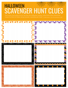 Blank cards for making your own halloween clues