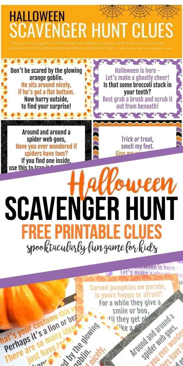 Halloween scavenger hunt with free printable clues - fun game for kids, have them hunt around the house for clues to a hidden surprise!
