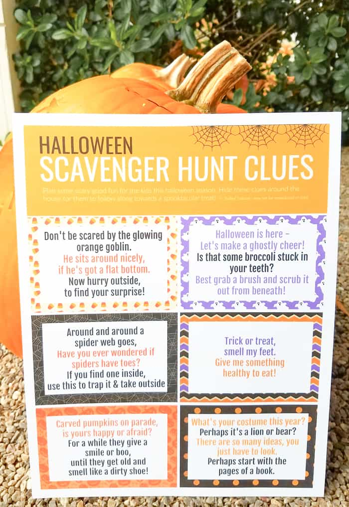 print off clues for a halloween scavenger hunt