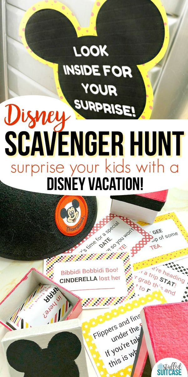 Want to surprise your kids with a trip to Disney? This fun Disney scavenger hunt has printable clues for you to hide and help announce the Disney World or Disneyland vacation!