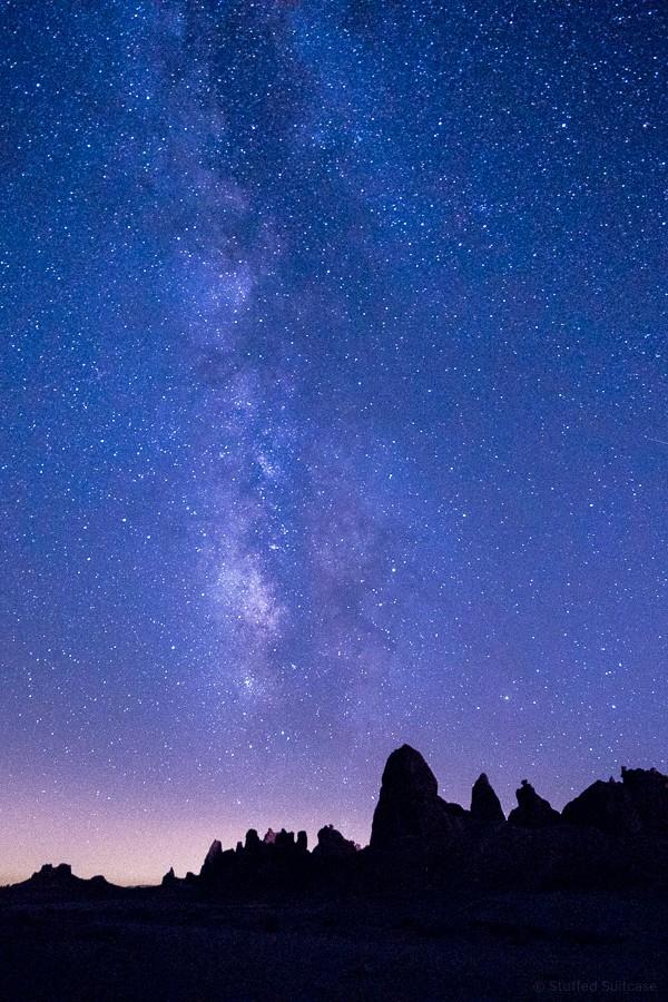 milky way galaxy night sky at trona pinnacles california