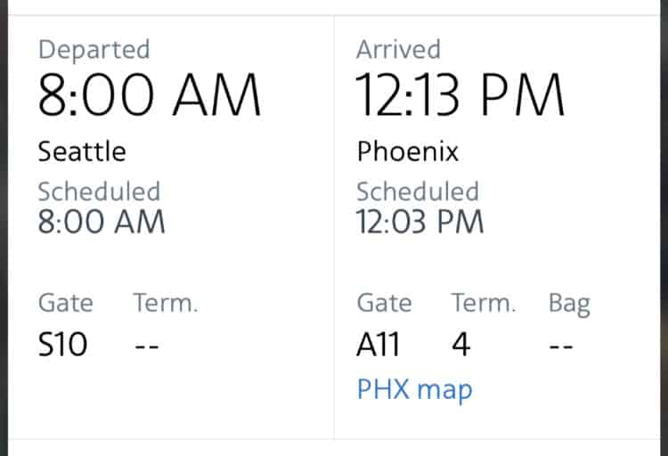 airplane departure information from app