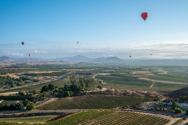 hot air balloon ride in temecula california