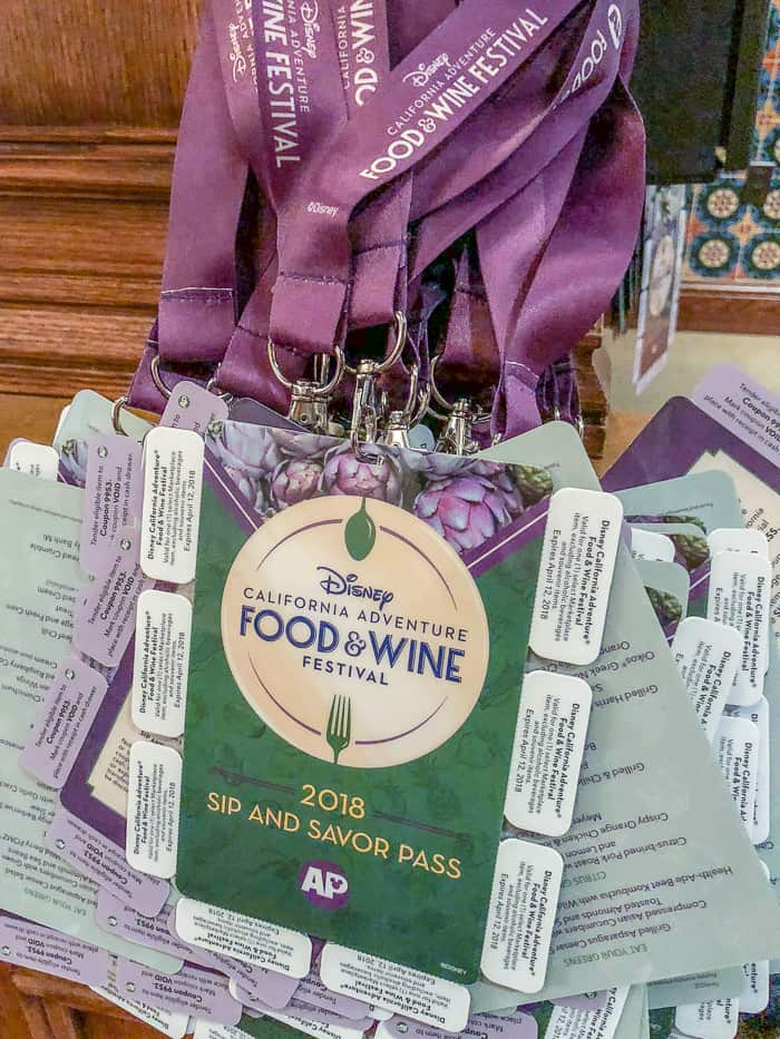 AP badges for food and wine festival at disneyland