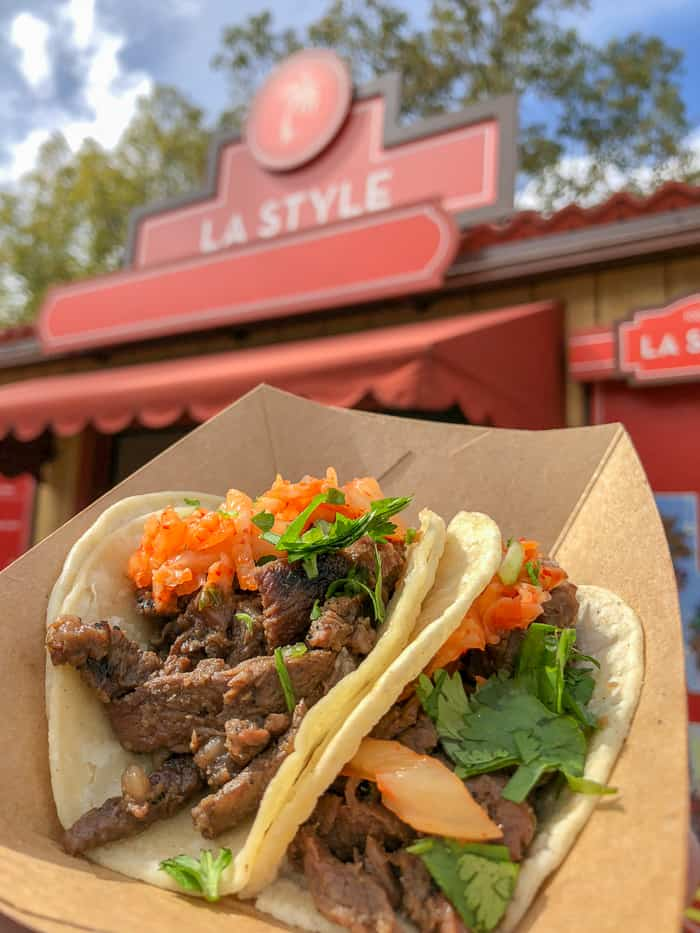 short rib tacos from la style booth at disneyland food & wine festival