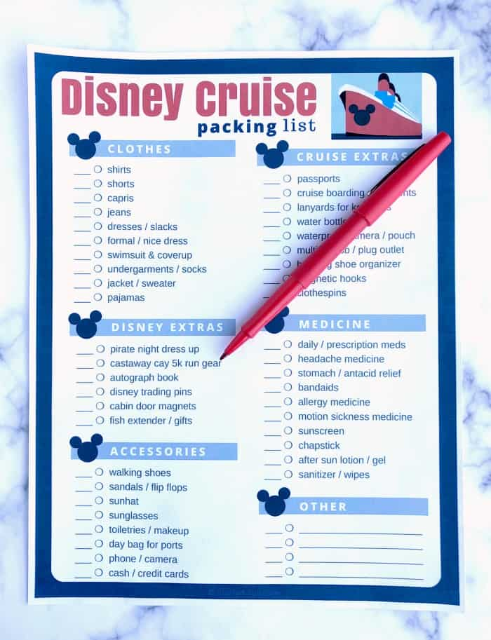 disney cruise packing list printable