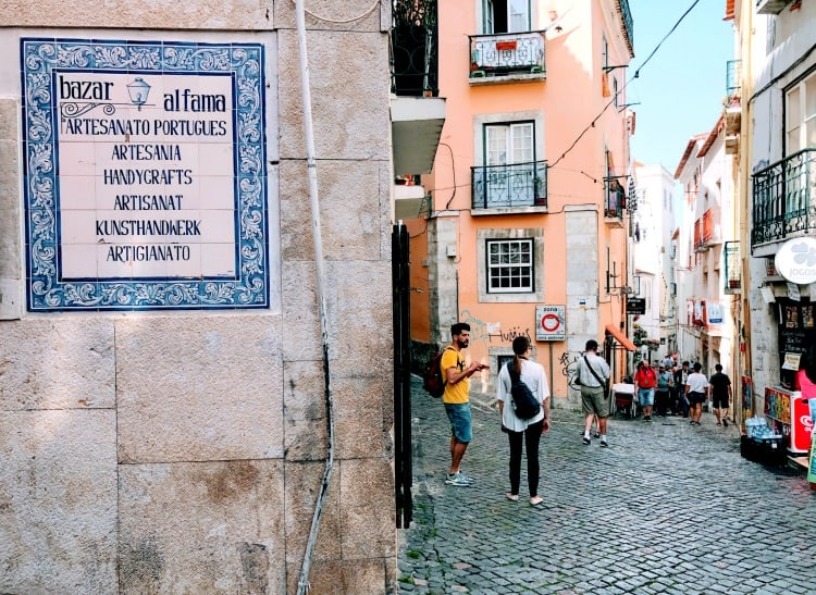 alfama lisbon portugal street scene