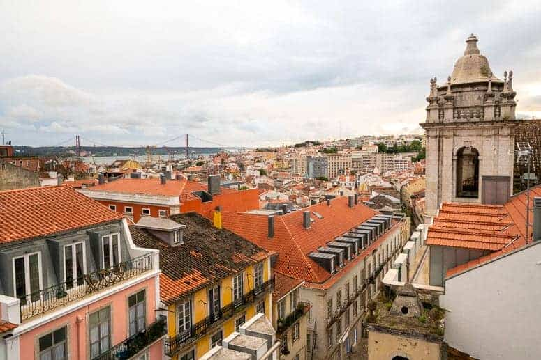 rooftop view from Park Bar in Lisbon Portugal