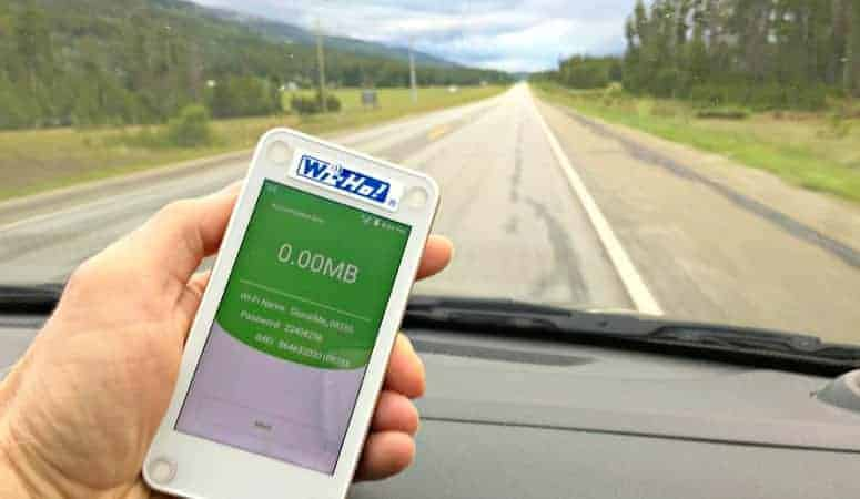 mobile wifi travel hotspot on the road
