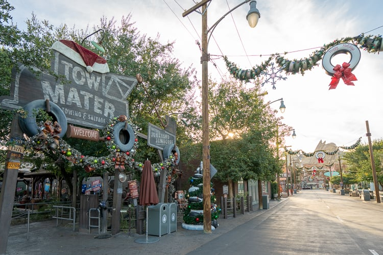 cars land holiday decorations at disneyland