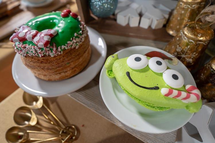 green alien holiday macaron