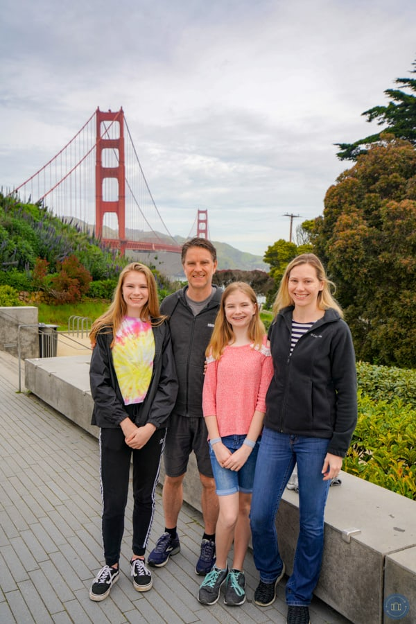 family photo at the Golden Gate Bridge