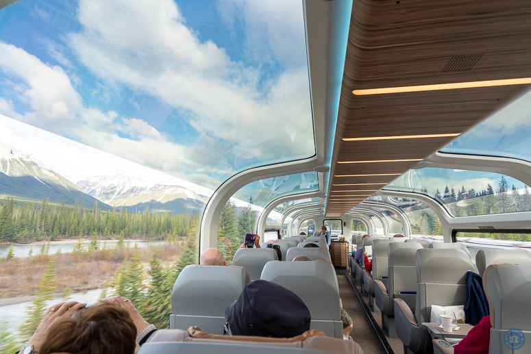 glass dome on rocky mountaineer gold leaf train car