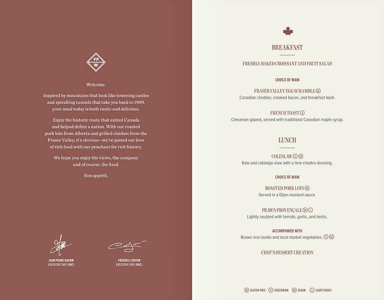 silver leaf menu for rocky mountaineer