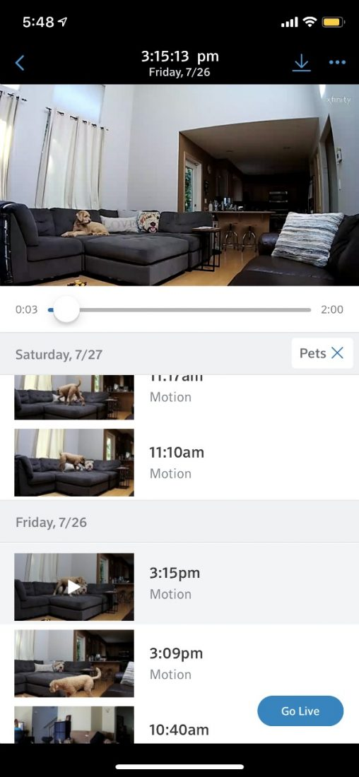 xfinity pet search camera videos in app