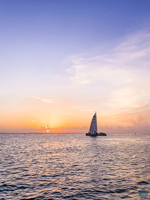 sailboat in the sunset in Florida keys