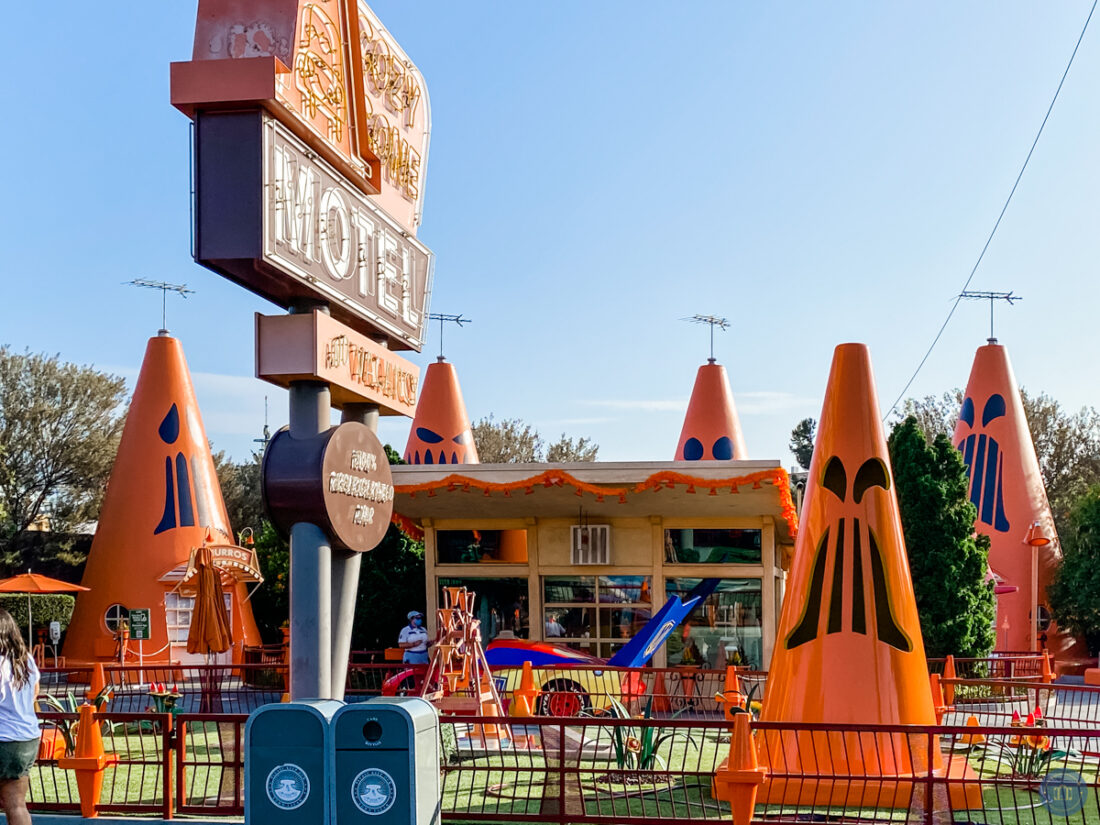 cozy cone motel cafe at cars land during Halloween time at Disneyland