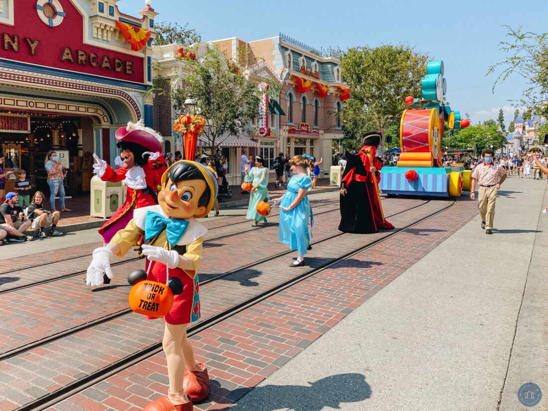 characters on main street at Disneyland Halloween