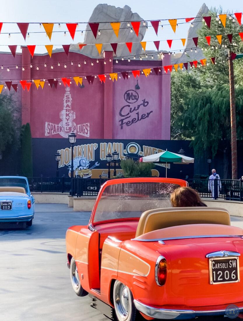 car at luigis haul-o-ween decorated for Disneyland Halloween