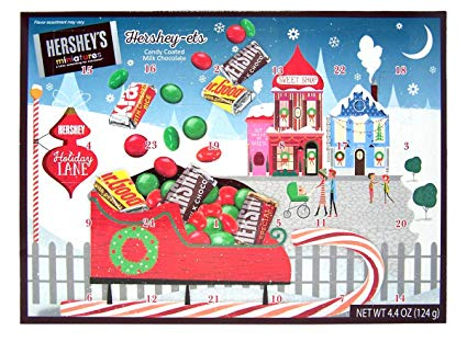 Hershey Miniatures and Candy Coated Milk Chocolate Pieces Filled 2019 Christmas Advent Calendar