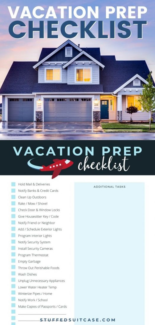 vacation prep checklist for home